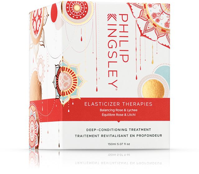 A box of Philip Kingsley's Elasticizer therapies in balancing rose and lychees, best as an anti frizz treatment and hair conditioning mask.